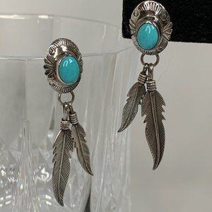 Nakai Vintage Sterling Turquoise Feather Earrings